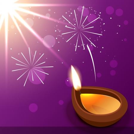 vector diwali diya design with fireworks Vector