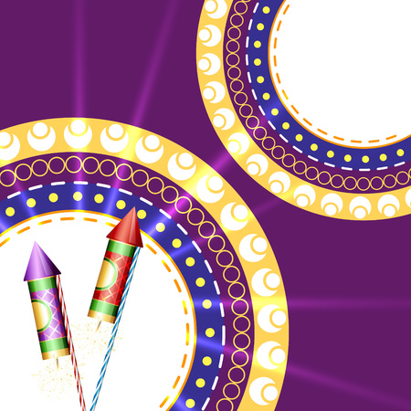 diwali festival crackers on artistic red background Illustration