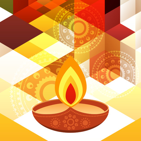 beautiful diwali diya on creative background Vector