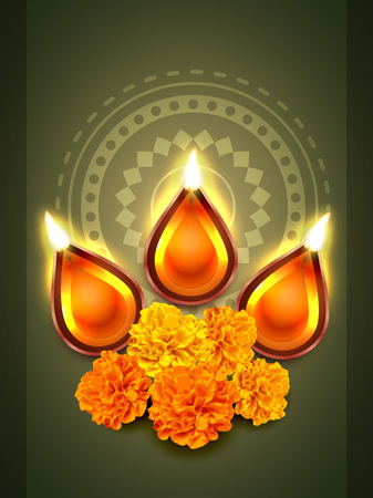 vector diwali diya festival with flowers Vector