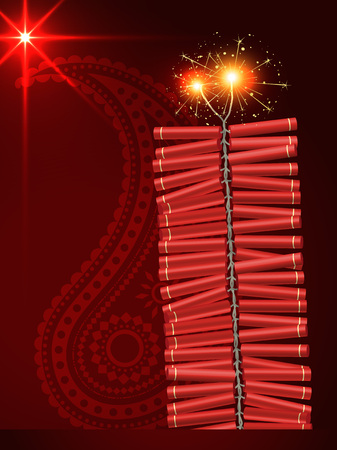 diwali festival crackers on artistic red background Vector