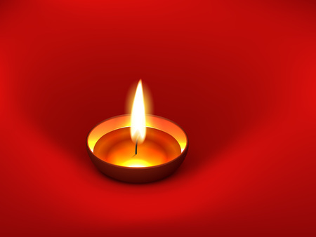 vector diwali diya placed on red background Vector