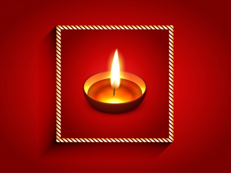 elegant diwali diya enclosed on golden frame Vector