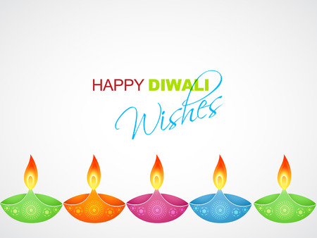 colorful diwali diya with space for your text Vector
