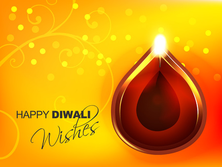 beautiful vector diwali diya on yellow background Vector