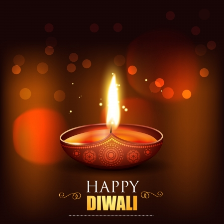shiny happy diwali vector design background Vector