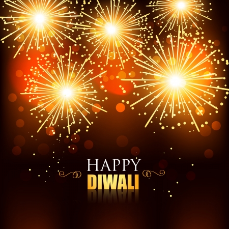 beautiful happy diwali fireworks background Vector