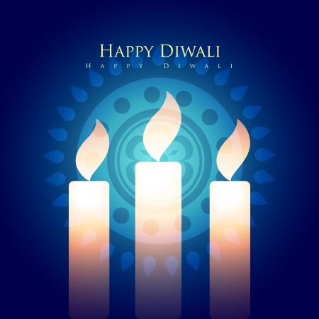 happy diwali design with candles Stock Vector - 23065358