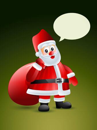 bolsa de regalo: Pap� Noel con bolsa de regalo ilustraci�n vectorial