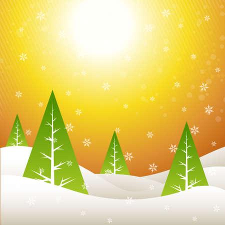 beautiful merry christmas design with golden sky Vector