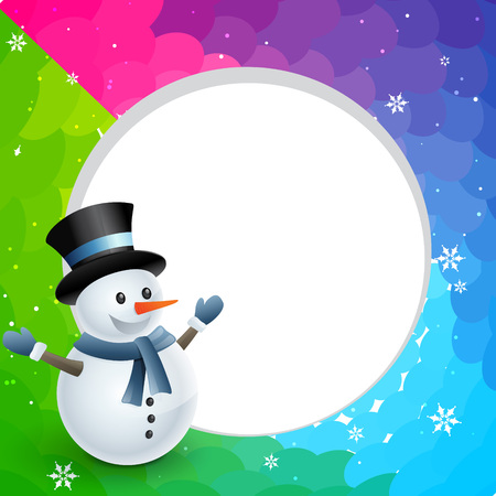 happy christmas winter snowman design illustration Stock Vector - 24307052