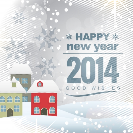 vector new year 2014 design with colorful house Vector