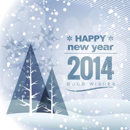 winters: beautiful vector seasonal winters new year 2014 greeting Illustration