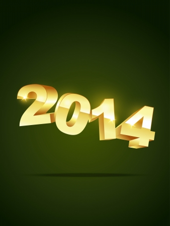 golden style 2014 happy new year Vector