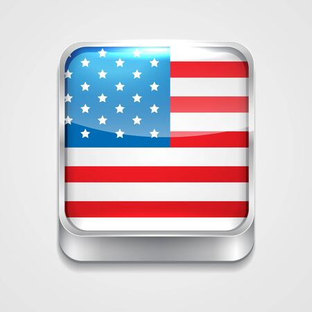 3d style flag icon of united state of america Vector