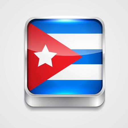 3d style flag icon of cuba Vector