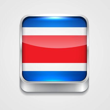 bandera de costa rica: Icono de la bandera 3d de estilo de Costa Rica Vectores