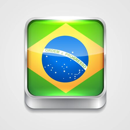 3d style flag icon of brazil Vector