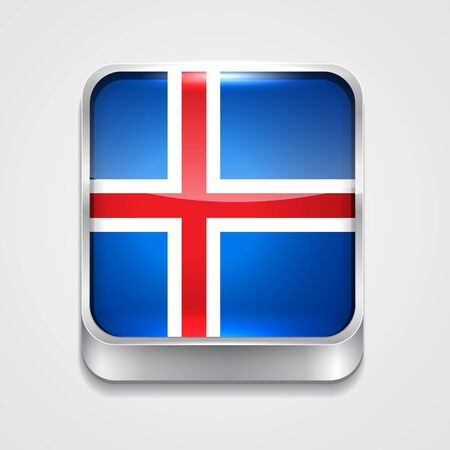 vector 3d style flag icon of iceland Vector