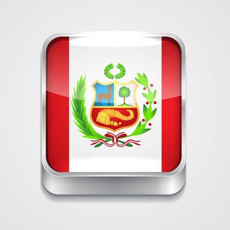 mapa del peru: Icono de la bandera del estilo 3D del Perú Vectores