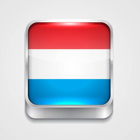 vector 3d style flag icon of luxembourg Vector