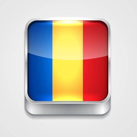 rumania: vector 3d style flag icon of romania