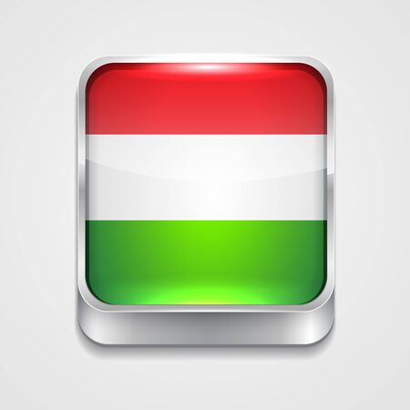vector 3d style flag icon of hungary Vector