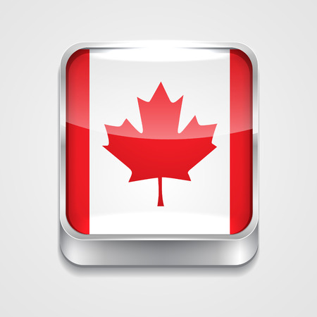 3d button: vector 3d style flag icon of canada Illustration