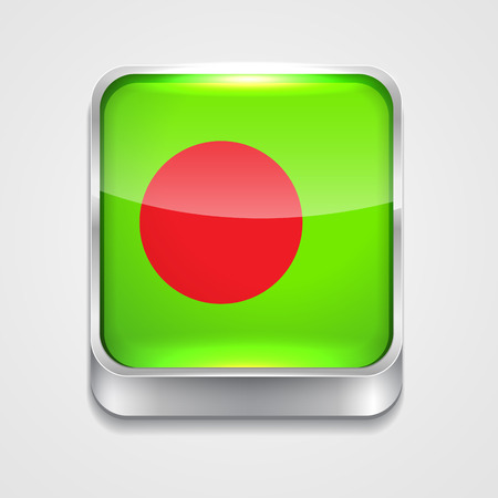 vector 3d style flag icon of bangladesh Vector