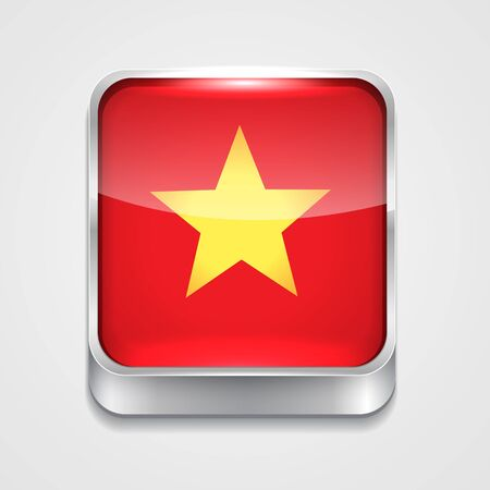 vector 3d style flag icon of vietnam Vector