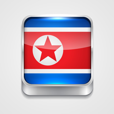 vector 3d style flag icon of north korea Vector
