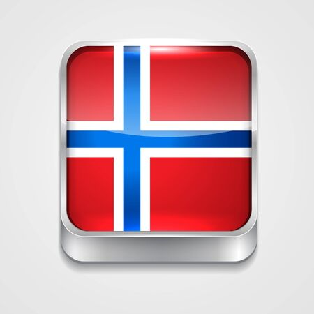vector 3d style flag icon of norway Vector