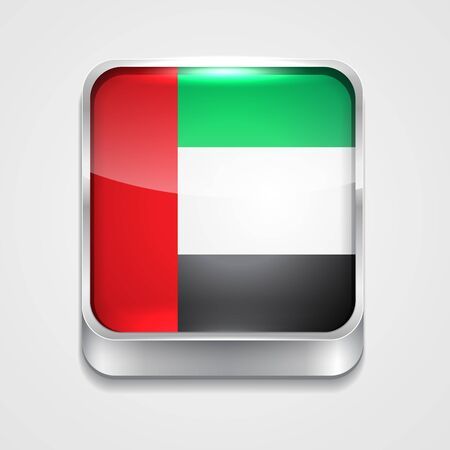 vector 3d style flag icon of united arab emirates Vector