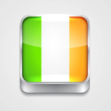 vector 3d style flag icon of ireland Vector