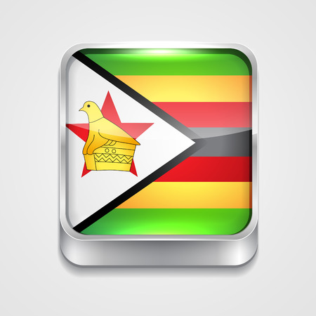 vector 3d style flag icon of zimbabwe Vector