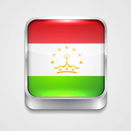 vector 3d style flag icon of tajikistan Vector