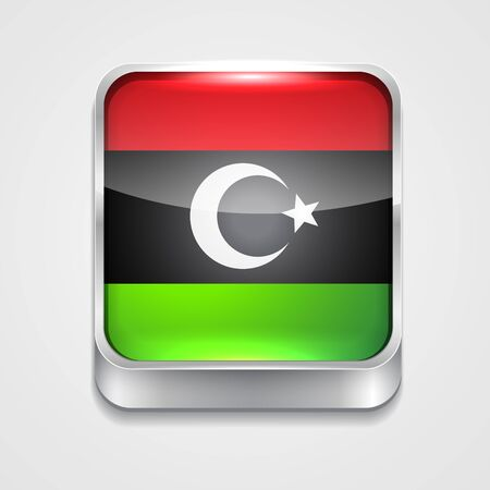 vector 3d style flag icon of libya Vector