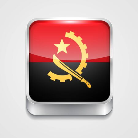 vector 3d style flag icon of angola Vector