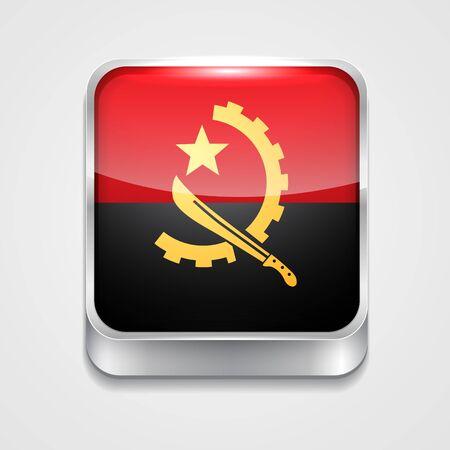 angola: vector 3d style flag icon of angola