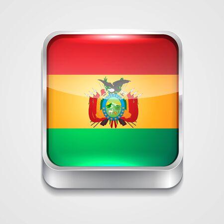 mapa de bolivia: icono de la bandera de vectores 3d estilo de Bolivia