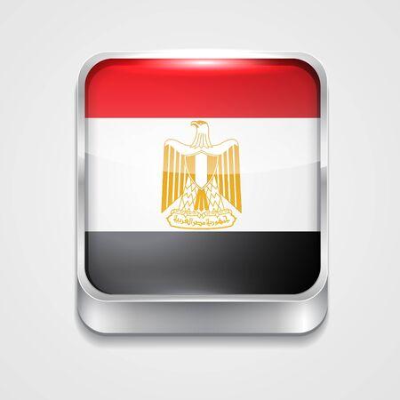 bandera de egipto: icono de la bandera de vectores 3d estilo de egipto