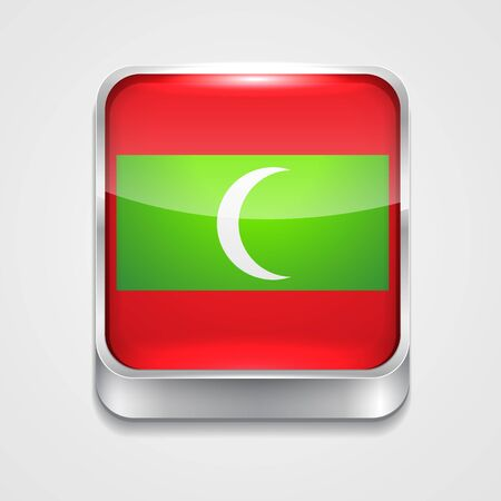 vector 3d style flag icon of maldives Vector