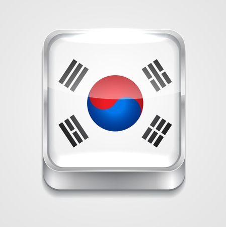 vector 3d style flag icon of south korea Vector