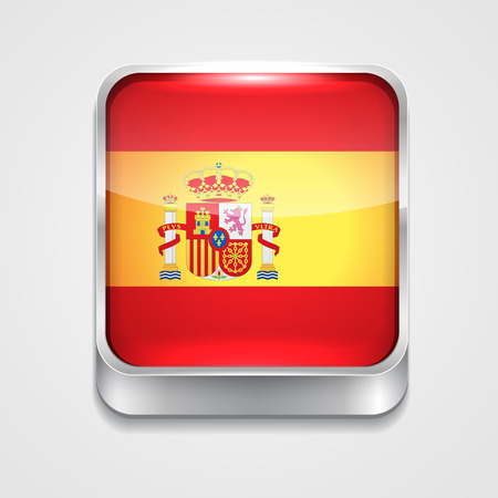 vector 3d style flag icon of spain Vector