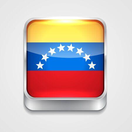 mapa de venezuela: icono de la bandera de vectores 3d estilo de Venezuela