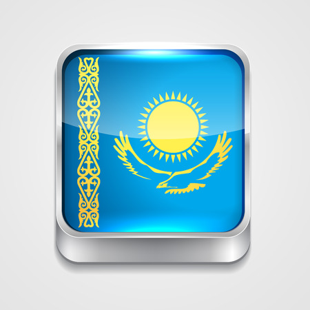 vector 3d style flag icon of kazakhstan Vector