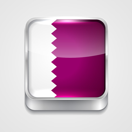 vector 3d style flag icon of qatar Vector