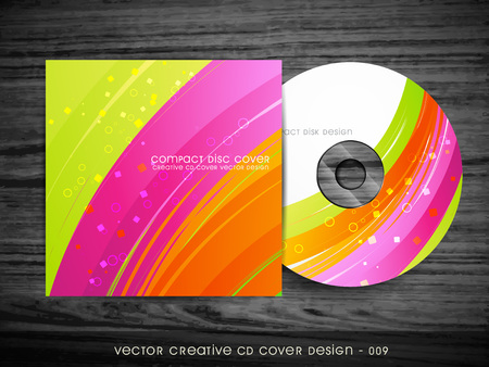 cd label: beautiful wave style cd cover design