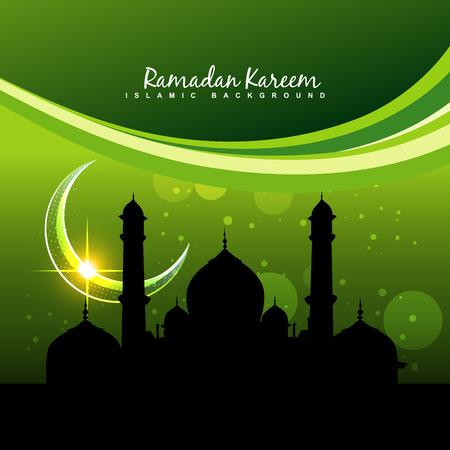 muslim celebration: vector green ramadan kareem design background