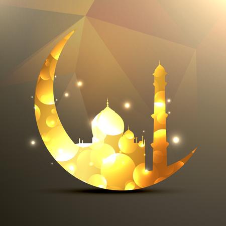 mubarak: vector illustration of moon and mosque Illustration